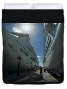 Two Cruise Ships On Either Side Duvet Cover