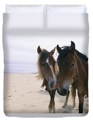 Two Curious Wild Horses On The Beach Duvet Cover