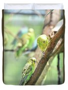 Two Cute Little Parakeets In A Tree Duvet Cover