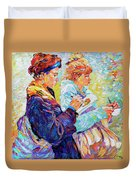 Two Drawing Ladies Duvet Cover