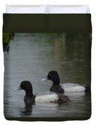 Two Ducks In The Rain Duvet Cover