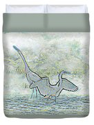 Two Egrets In Water I Glow Brilliant On White II Duvet Cover