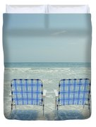 Two Empty Beach Chairs Duvet Cover