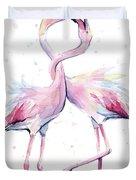 Two Flamingos Watercolor Famingo Love Duvet Cover