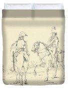 Two French Cavalrymen On Horseback Duvet Cover