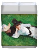 Two Girls On A Lawn Duvet Cover