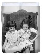 Two Girls Reading A Book, C.1920-30s Duvet Cover