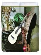 Two Guitars On A Shoe Chair Duvet Cover