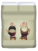 Two Hands Holding And Showing Both Sides Of Decorated Tibetan Singing Bowls Duvet Cover