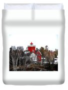 Two Harbors Lighthouse Close-up Duvet Cover