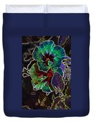Two Hibiscus Glowing Edges Abstract Duvet Cover