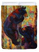 Two High - Black Bear Cubs Duvet Cover