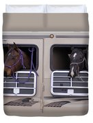 Two Horses Are Ready To Travel Duvet Cover