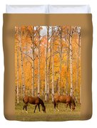 Two Horses Grazing In The Autumn Air Duvet Cover
