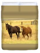 Two Horses In A Field Duvet Cover