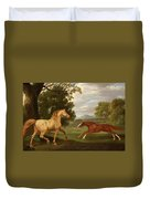 Two Horses In A Landscape Duvet Cover