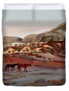 Two Horses In The Arroyo Duvet Cover