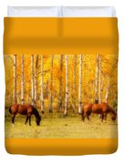 Two Horses In The Colorado Fall Foliage Duvet Cover