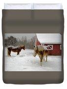 Two Horses In Winter Duvet Cover