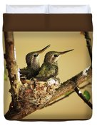 Two Hummingbird Babies In A Nest Duvet Cover