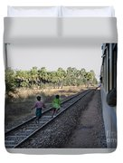 Two Kids Run Along And Follow Train In Burma Duvet Cover