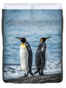 Two King Penguins Facing In Opposite Directions Duvet Cover