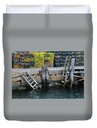 Two Ladders At High Tide Duvet Cover