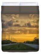 Two Lane Sunset Duvet Cover