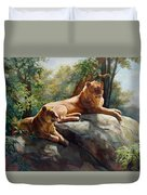 Two Lions - Forever And Always Together Duvet Cover