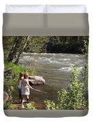 Two Little Girls Playing By The River Duvet Cover