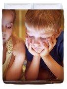 Two Little Kids Duvet Cover