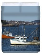 Two Lobster Boats Duvet Cover