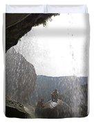 Two Men Exploring Tar Creek Waterfalls Duvet Cover