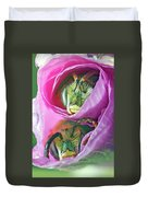 Two Metallic Green Bees Rolled Up In A Pink Flowers Petals Duvet Cover