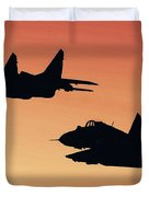 Two Migs At Sunset Duvet Cover