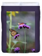 Two Monarchs On Verbena Duvet Cover