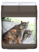 Two Mountain Lions Duvet Cover