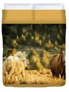 Two Mustangs Post Playtime At The Waterhole Duvet Cover
