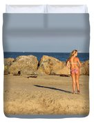 Two Oil Platforms On Horizon Duvet Cover