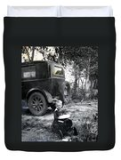 Two Old Cars Duvet Cover