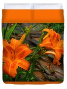 Two Orange Daylilies Duvet Cover