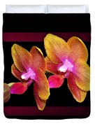 Two Orchids And A Bud Duvet Cover