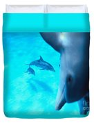 Two Pairs Of Dolphins Duvet Cover