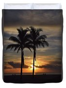 Two Palms At Dawn 18222 Duvet Cover