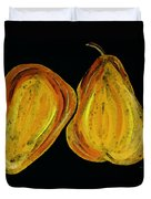Two Pears - Yellow Gold Fruit Food Art Duvet Cover by Sharon Cummings