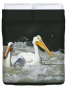 Two Pelicans At Horn Rapids Duvet Cover