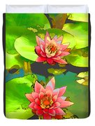 Two Pink Blooming Water Lilies  Duvet Cover