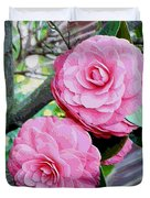 Two Pink Camellias - Digital Art Duvet Cover