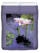 Two Pink Lilies In The Rain Duvet Cover
