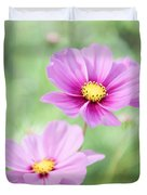 Two Purple Cosmos Flowers Duvet Cover